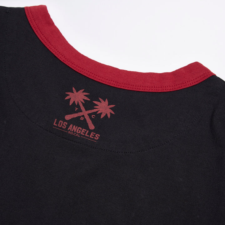 Black Distressed Vintage Print TCB Tee - LA Inspired Printed T-Shirt