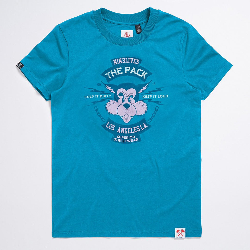 Aqua The Pack Vintage Print Tee- LA Inspired Crew Neck T-Shirt