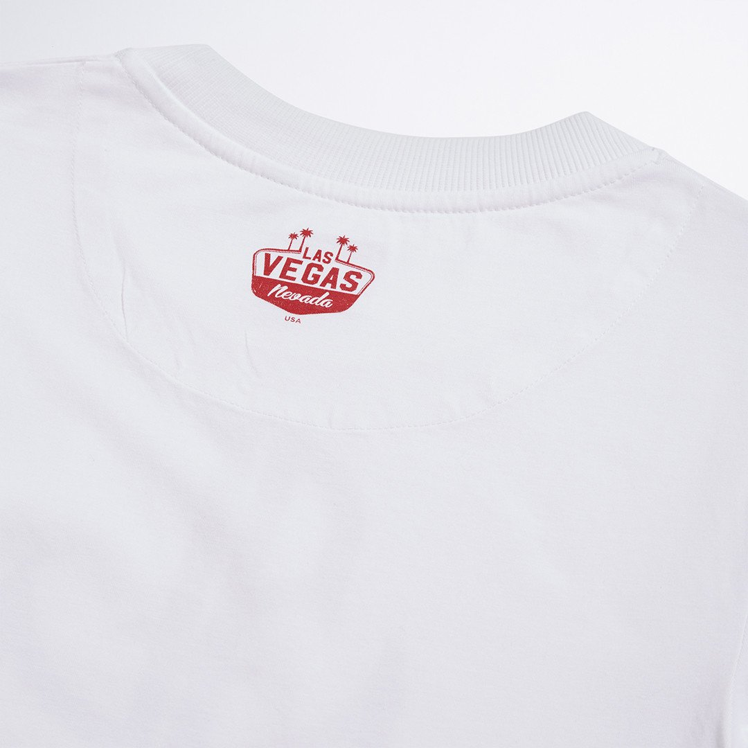 White High Roller Printed Tee - LA Inspired Crew Neck Tee