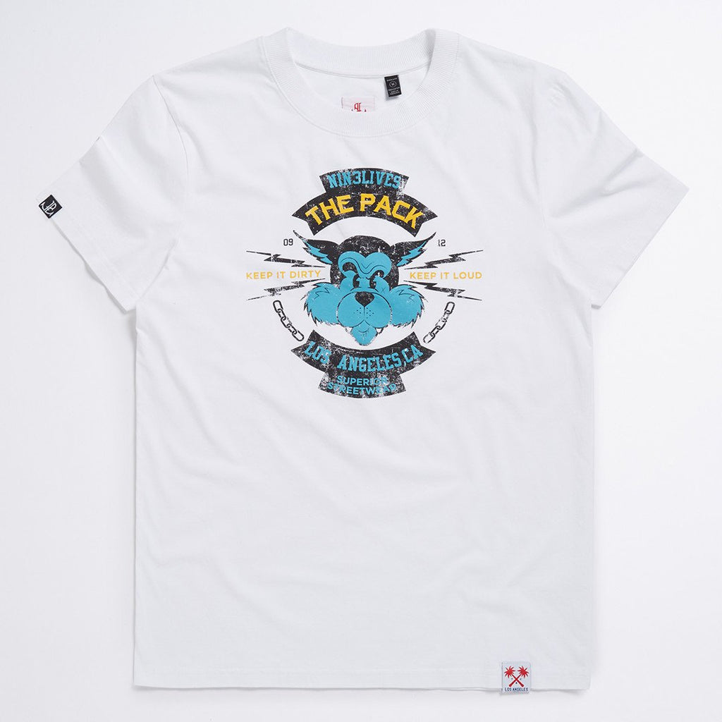 White The Pack Vintage Print Tee- LA Inspired Crew Neck T-Shirt