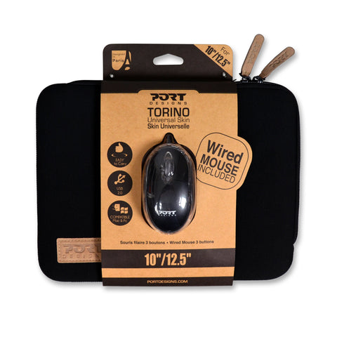 Port Designs TORINO 13.3' Sleeve - Black + Mouse