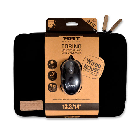 Port Designs TORINO 10/12.5' Sleeve - Black + Mouse