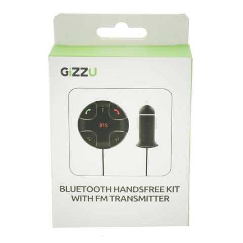 GIZZU Bluetooth Handsfree Kit with FM Transmitter Red LED Interface [1 x Micro SD Slot Supports (512MB Max)