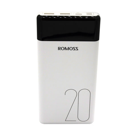 Romoss LT20 20000mAh Input_ Type-C|Lightning|Micro USB|Output: 2 x USB Power Bank White