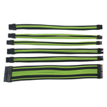 Antec 6 Piece PSU Sleeved Cable Set - 1 x 24pin|1 x 4+4pin|2 x 8pin PCI-E|2 x 6pin PCI-E Triple Layer Weaving Sleeve - 300mm - Green + Black