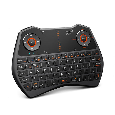 Rii Wireless QWERTY Backlit Game Touchpad Keyboard Black