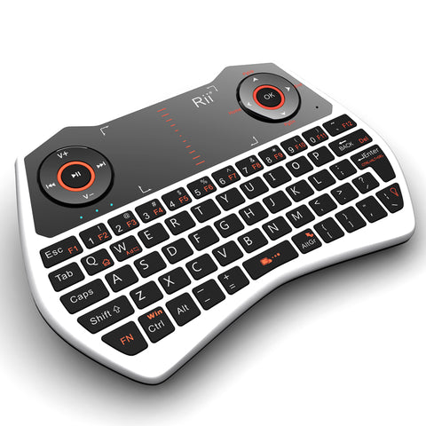 Rii Wireless QWERTY Backlit Game Touchpad Keyboard White