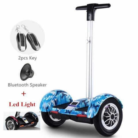 Everest High-Tech 10 inch Wheel Blue Camo Segway Electric Scooter Hoverboard with Handle