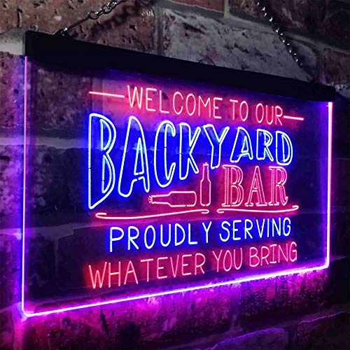 Backyard Bar Welcome Home Bar LED Neon Light Sign - Way Up Gifts