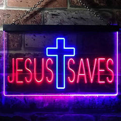 Cross Jesus Saves LED Neon Light Sign