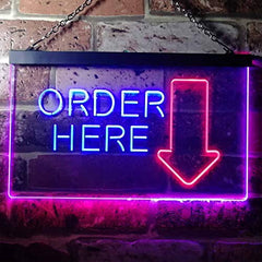 Arrow Order Here LED Neon Light Sign
