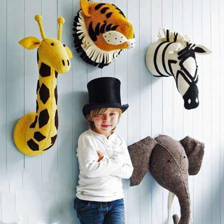 Wall Hanging Felt Animal Head - Way Up Gifts