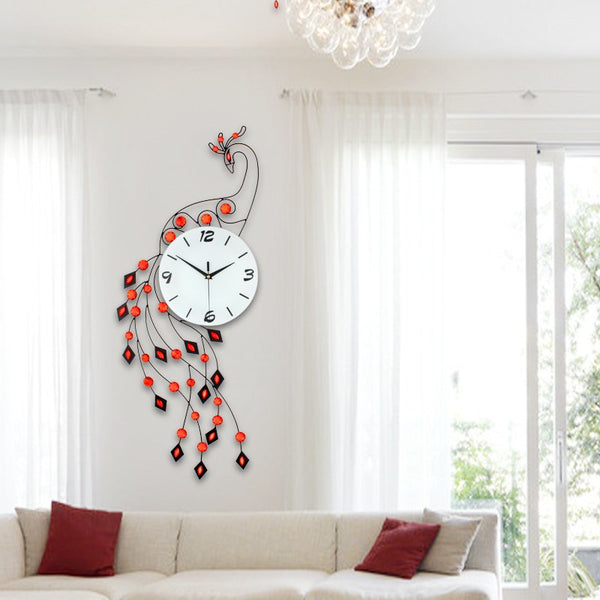 Big Unique Iron Peacock Wall Clock Red Clocks - Way Up Gifts