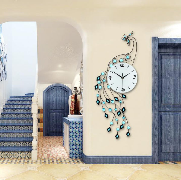 Big Unique Iron Peacock Wall Clock Blue Clocks - Way Up Gifts