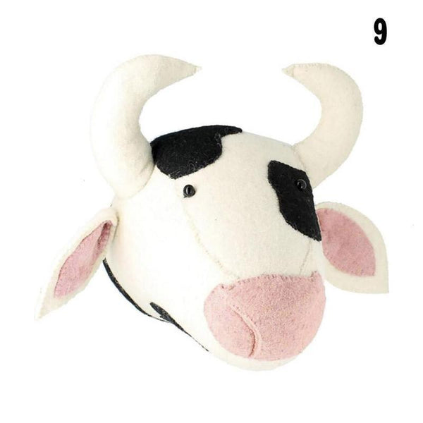 Wall Hanging Felt Animal Head Cow Giant Plush Toy - Way Up Gifts