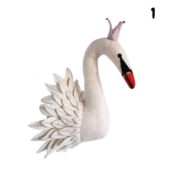 Wall Hanging Felt Animal Head Swan Giant Plush Toy - Way Up Gifts