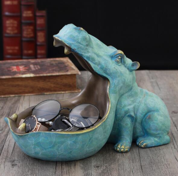 Resin Hippopotamus Hippo Statue Sculpture w/ Accessory Stash Tray - Way Up Gifts