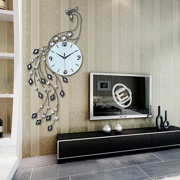 Big Unique Iron Peacock Wall Clock White Clocks - Way Up Gifts