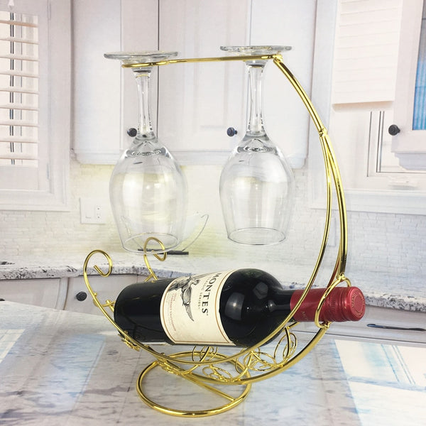 Wine Rack Bottle & Glass Holder Creative Display Stand - Way Up Gifts