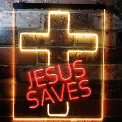 Christian Cross Jesus Saves LED Neon Light Sign