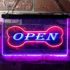Open Dog Bone Grooming Pet Shop LED Neon Light Sign
