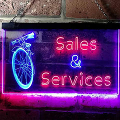 Bicycle Bike Sales Repairs Services LED Neon Light Sign