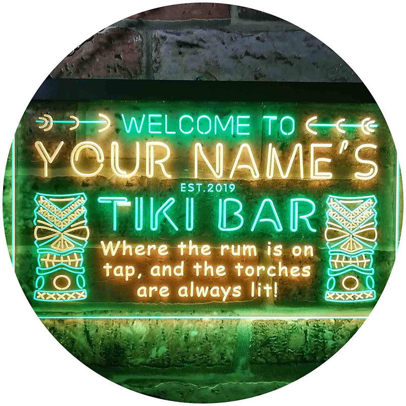 Personalized Tiki Bar LED Neon Light Sign - Way Up Gifts