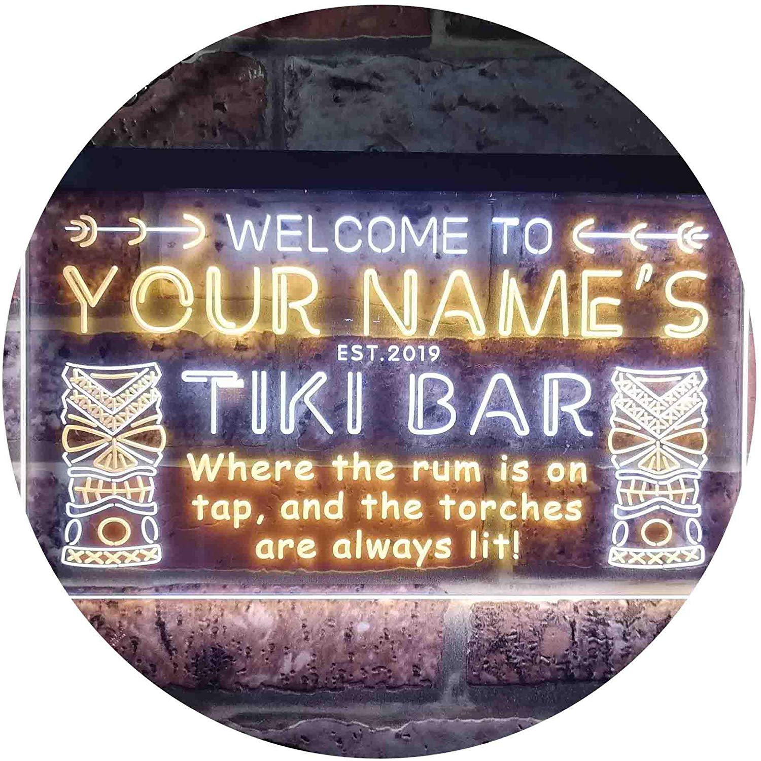 Personalized Tiki Bar LED Neon Light Sign | Way Up Gifts
