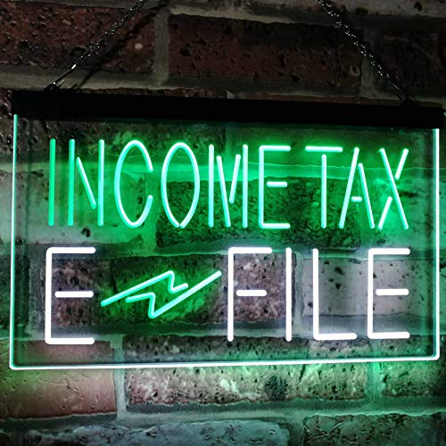 Income Tax E-File LED Neon Light Sign - Way Up Gifts