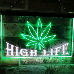 Marijuana Weed Leaf High Life LED Neon Light Sign