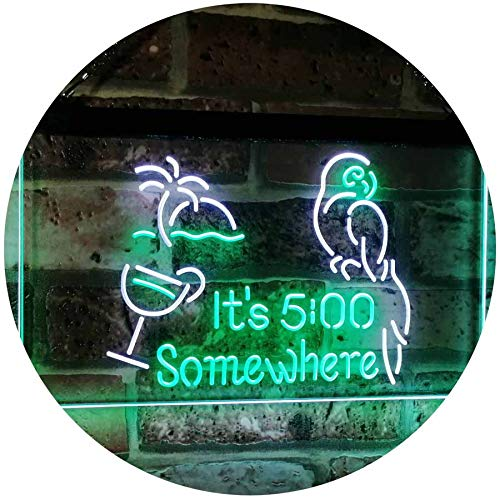 Parrot It's Five O'Clock Somewhere LED Neon Light Sign - Way Up Gifts