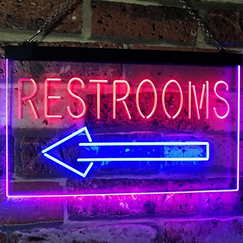 Left Restrooms Arrow LED Neon Light Sign - Way Up Gifts
