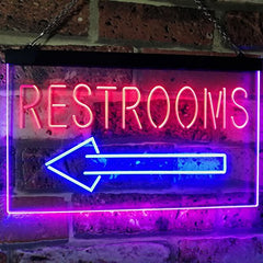 Left Restrooms Arrow LED Neon Light Sign