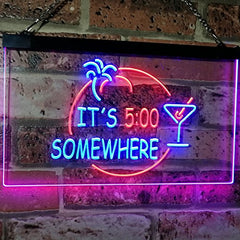 Cocktails It's Five O'Clock Somewhere LED Neon Light Sign