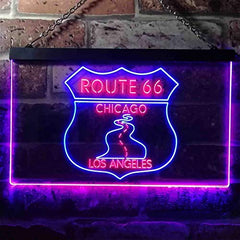 Chicago to Los Angeles Route 66 LED Neon Light Sign