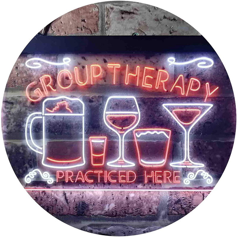 Beer Cocktails Wine Group Therapy Practiced Here Humor LED Neon Light Sign - Way Up Gifts