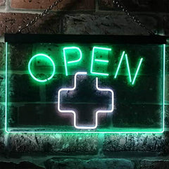 Open Medical Cross Dispensary LED Neon Light Sign