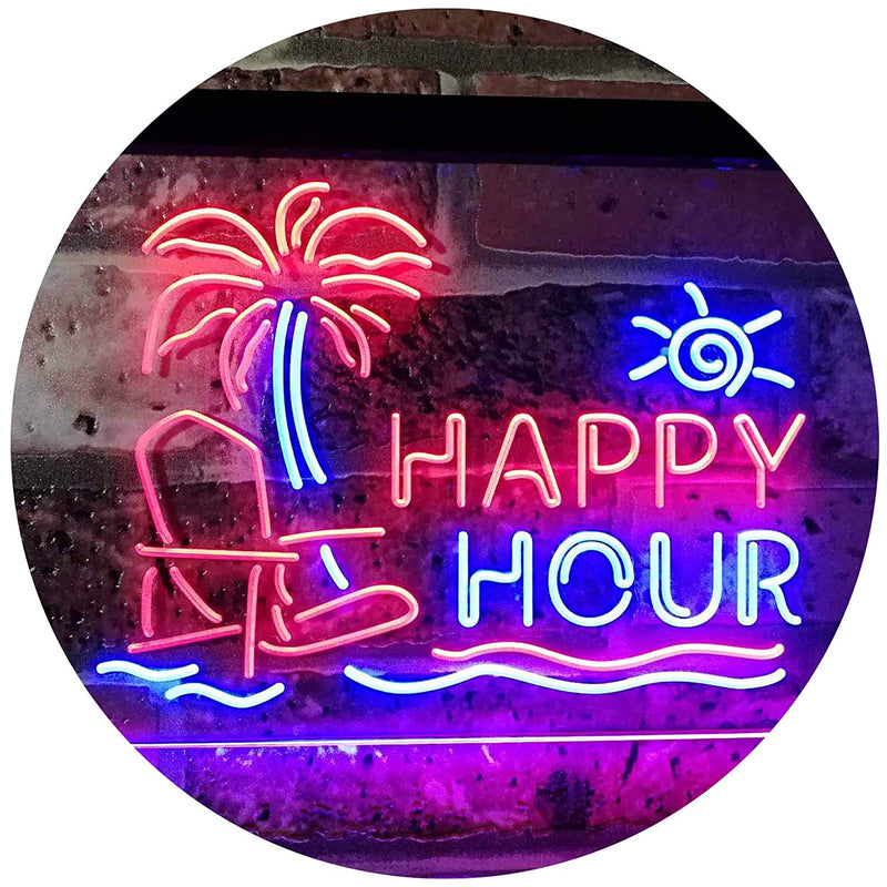 Beach Theme Happy Hour LED Neon Light Sign - Way Up Gifts