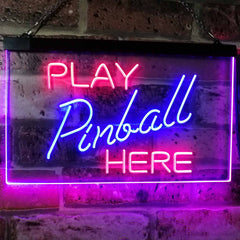 Arcade Game Room Play Pinball Here LED Neon Light Sign