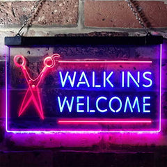 Barber Salon Hair Cuts Walk Ins Welcome LED Neon Light Sign