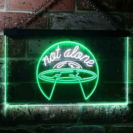 Alien UFO Conspiracy Not Alone LED Neon Light Sign - Way Up Gifts