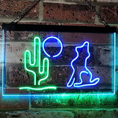 Cactus Moon Wolf LED Neon Light Sign