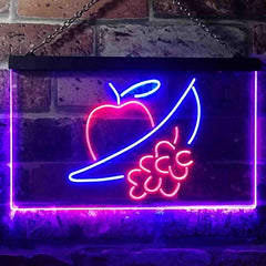 Apple Grapes Banana Grocery Fruit LED Neon Light Sign