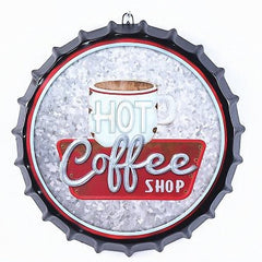 Vintage 3D Hot Coffee Shop Sign