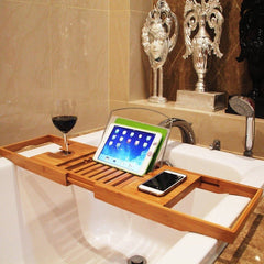 Bath Tray Bathroom Shelf Caddy Wine Holder (Bamboo, Extendable)