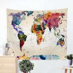World Map Wall Hanging Tapestry Art Decor Blanket (High-Definition Fabric)