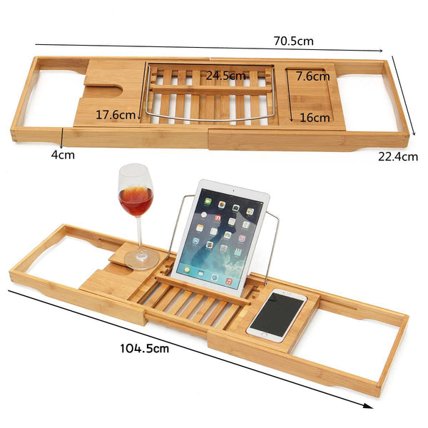 Bath Tray Bathroom Shelf Caddy Wine Holder (Bamboo, Extendable) - Way Up Gifts