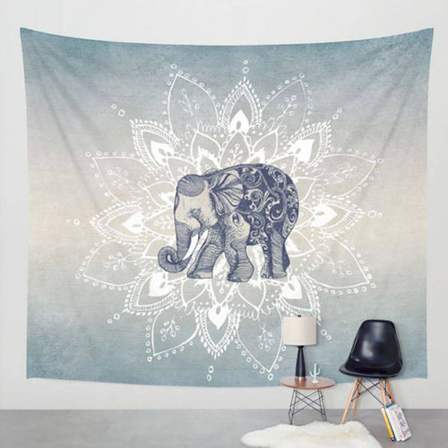 Wall Hanging Elephant & Mandala Tapestry Art Decor Blanket (High-Definition Fabric)