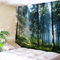Forest Trees Nature Wall Hanging Tapestry Decor Blanket (HD Fabric)