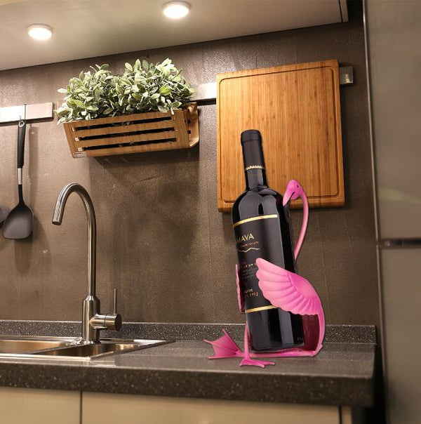 Flamingo Metal Wine Wack Bottle Holder Display - Way Up Gifts